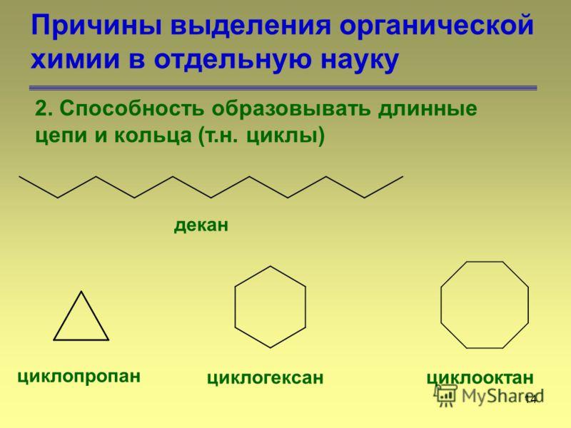 14 Причины выделения органической химии в отдельную науку 2. Способность образовывать длинные цепи и кольца (т.н. циклы) декан циклопропан циклогексанциклооктан