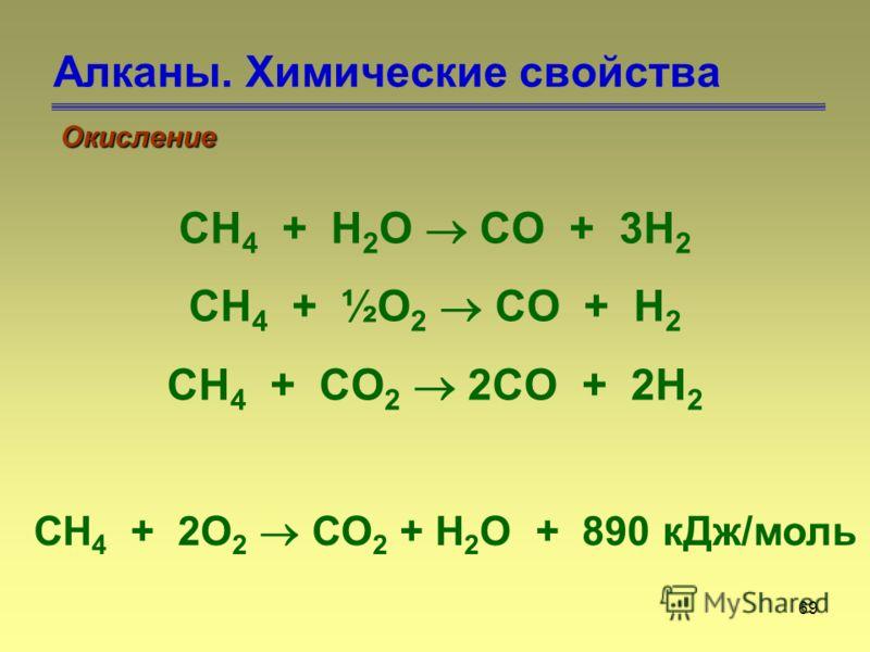 69 Алканы. Химические свойства Окисление CH 4 + H 2 O CO + 3H 2 CH 4 + ½O 2 CO + H 2 CH 4 + CO 2 2CO + 2H 2 CH 4 + 2O 2 CO 2 + H 2 O + 890 кДж/моль
