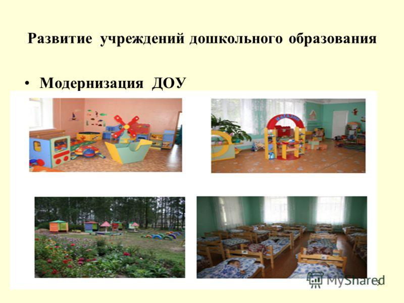 Развитие учреждений дошкольного образования Модернизация ДОУ 6