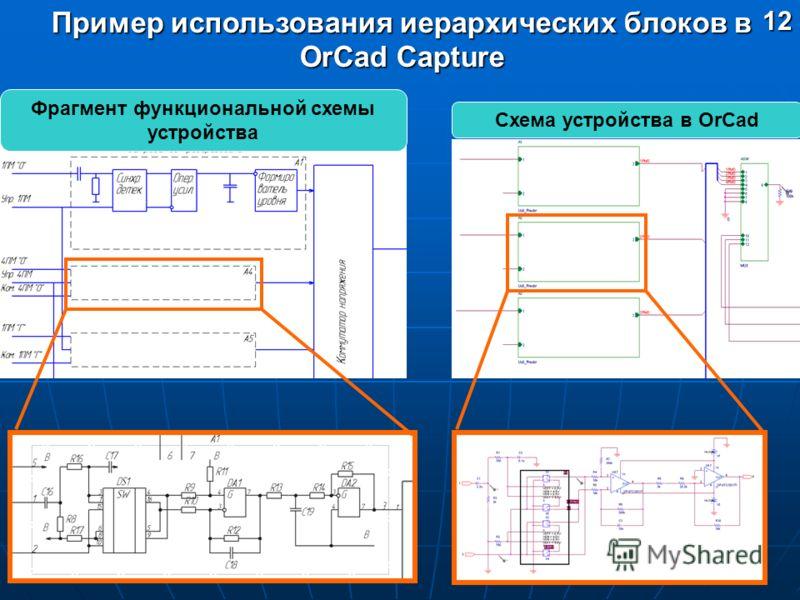Пример использования иерархических блоков в OrCad Capture Фрагмент функциональной схемы устройства Схема устройства в OrCad12