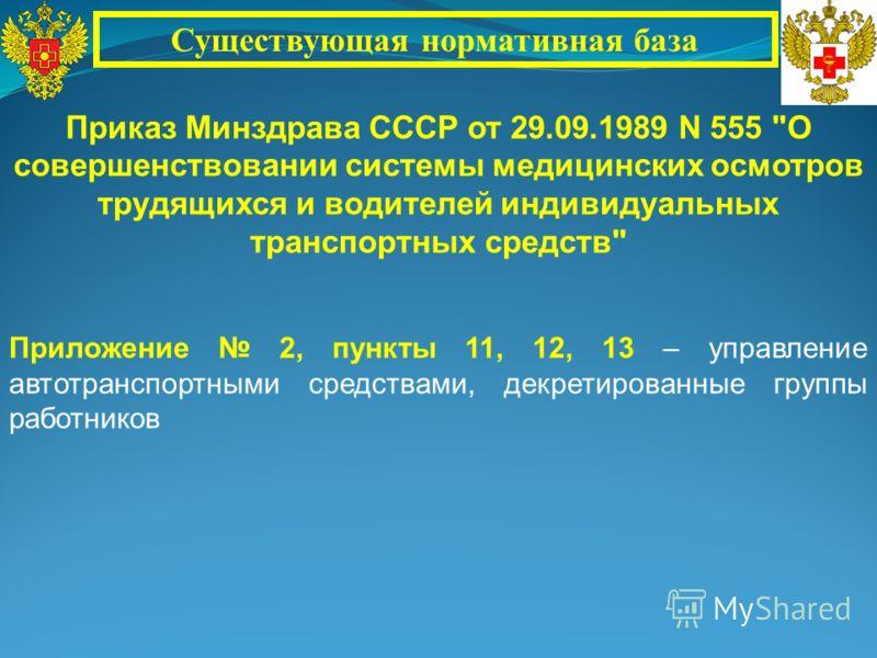 Приказ Минздрава СССР от 29.09.1989 N 555