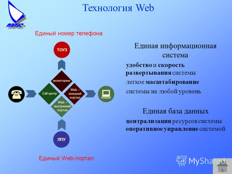 Технология Web Единая информационная система удобство и скорость развертывания системы легкое масштабирование системы на любой уровень Единая база данных централизация ресурсов системы оперативное управление системой Единый номер телефона ТОУЗ ЛПУ мо