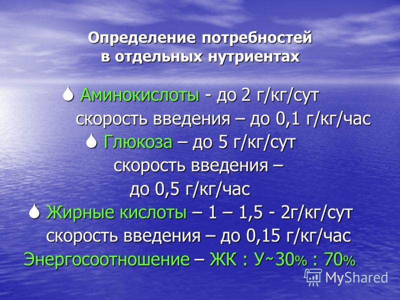 Определение потребностей в отдельных нутриентах Аминокислоты - до 2 г/кг/сут Аминокислоты - до 2 г/кг/сут скорость введения – до 0,1 г/кг/час скорость введения – до 0,1 г/кг/час Глюкоза – до 5 г/кг/сут Глюкоза – до 5 г/кг/сут скорость введения – скор