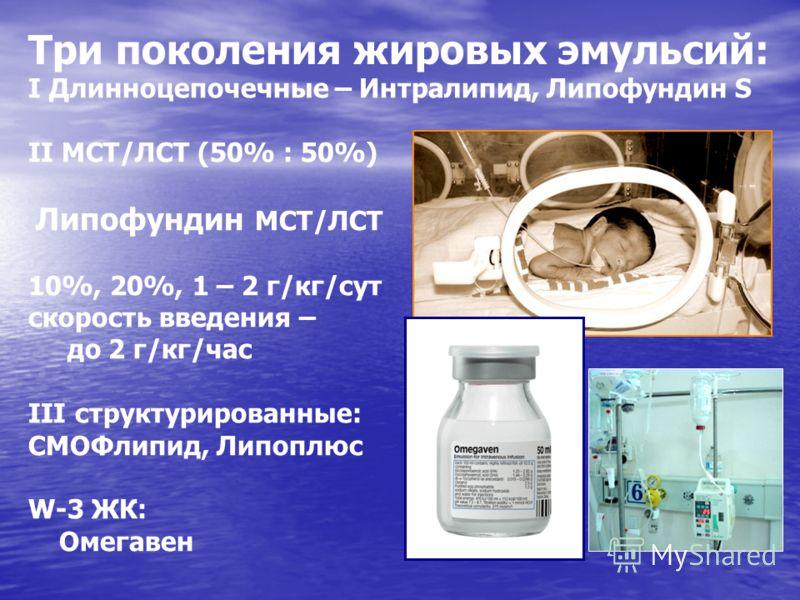 Три поколения жировых эмульсий: I Длинноцепочечные – Интралипид, Липофундин S II МСТ/ЛСТ (50% : 50%) Липофундин МСТ/ЛСТ 10%, 20%, 1 – 2 г/кг/сут скорость введения – до 2 г/кг/час III структурированные: СМОФлипид, Липоплюс W-3 ЖК: Омегавен