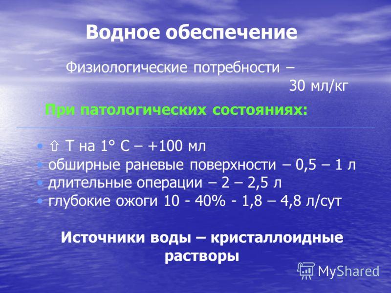 Водное обеспечение Физиологические потребности – 30 мл/кг При патологических состояниях: Т на 1° С – +100 мл обширные раневые поверхности – 0,5 – 1 л длительные операции – 2 – 2,5 л глубокие ожоги 10 - 40% - 1,8 – 4,8 л/сут Источники воды – кристалло
