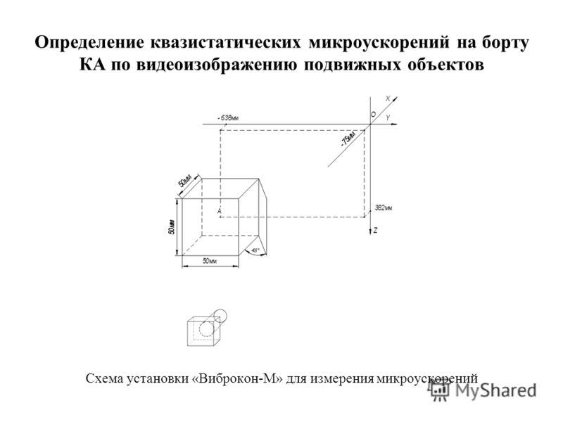 Определение квазистатических микроускорений на борту КА по видеоизображению подвижных объектов Схема установки «Виброкон-М» для измерения микроускорений