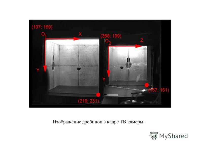 Изображение дробинок в кадре ТВ камеры.