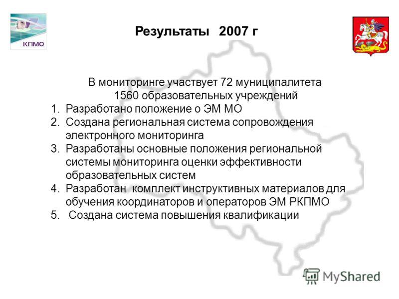 Московская область Результаты 2007 г В мониторинге участвует 72 муниципалитета 1560 образовательных учреждений 1.Разработано положение о ЭМ МО 2.Создана региональная система сопровождения электронного мониторинга 3.Разработаны основные положения реги