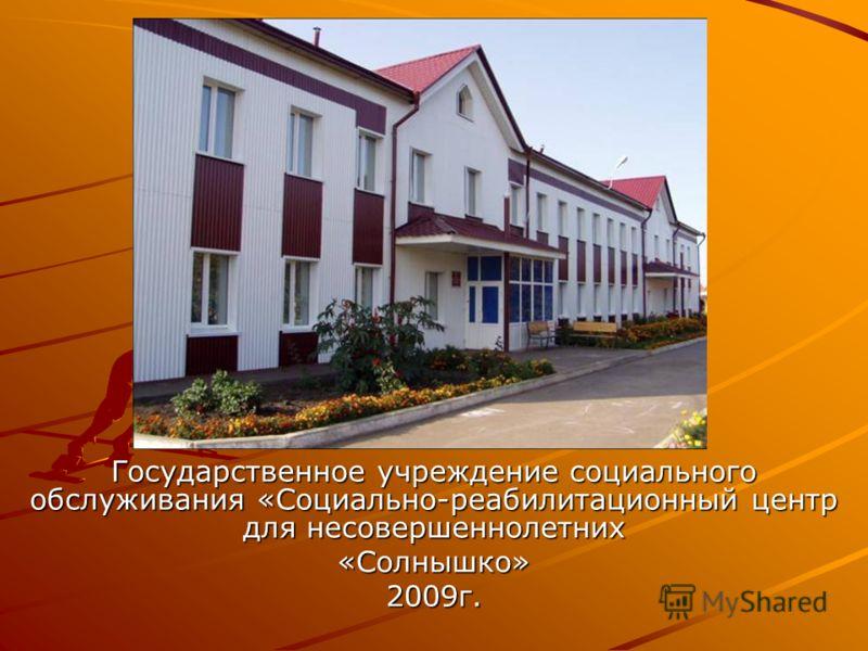 Государственное учреждение социального обслуживания «Социально-реабилитационный центр для несовершеннолетних «Солнышко»2009г.