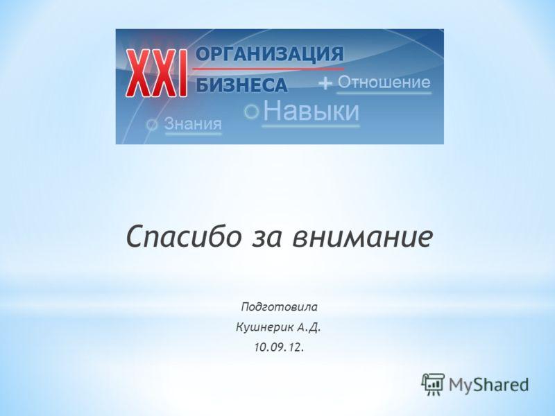 Спасибо за внимание Подготовила Кушнерик А.Д. 10.09.12.