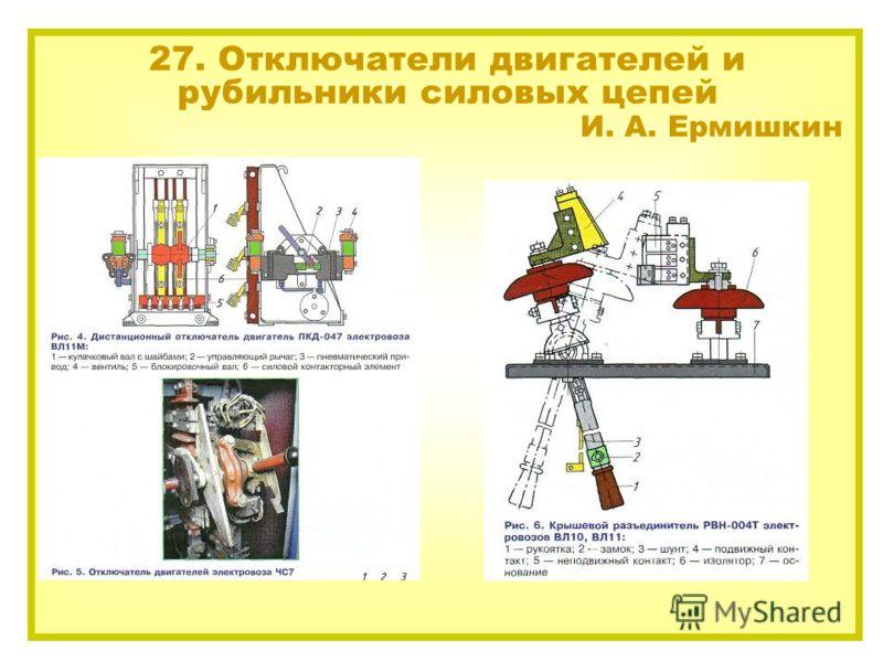 27. Отключатели двигателей и рубильники силовых цепей И. А. Ермишкин