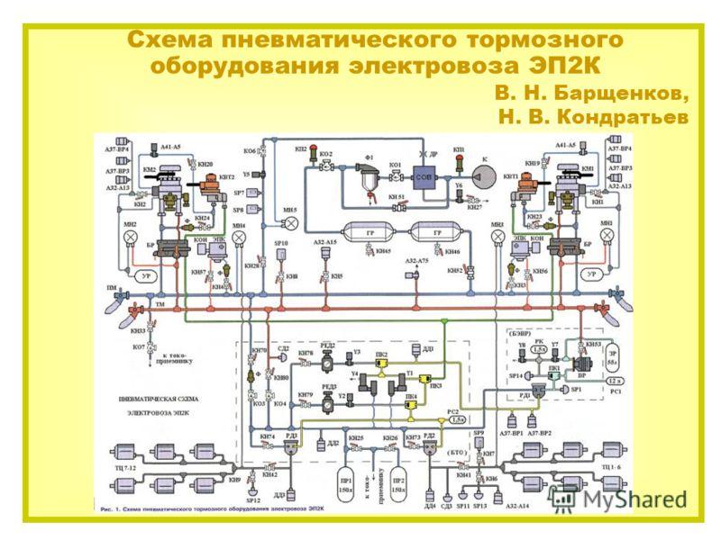 Схема пневматического тормозного оборудования электровоза ЭП2К В. Н. Барщенков, Н. В. Кондратьев