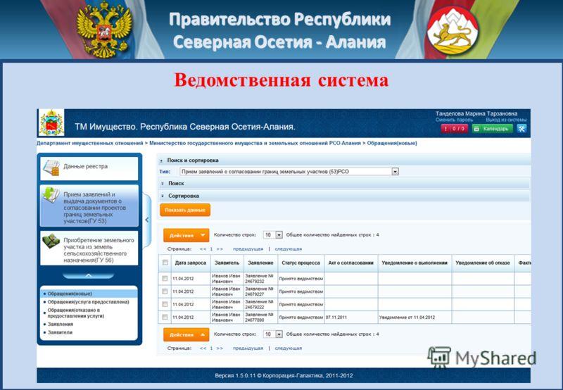 Правительство Республики Северная Осетия - Алания Ведомственная система