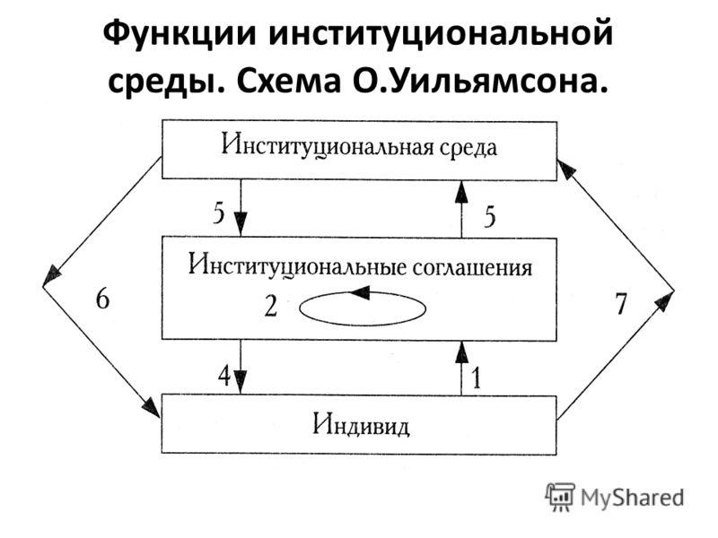 Функции институциональной среды. Схема О.Уильямсона.