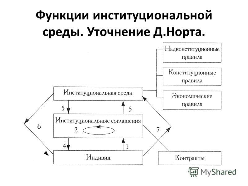 Функции институциональной среды. Уточнение Д.Норта.