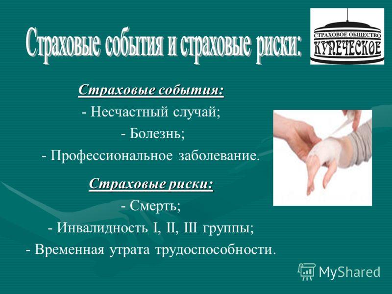Страховые события: - Несчастный случай; - Болезнь; - Профессиональное заболевание. Страховые риски: - Смерть; - Инвалидность I, II, III группы; - Временная утрата трудоспособности.