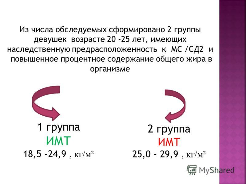 Из числа обследуемых сформировано 2 группы девушек возрасте 20 -25 лет, имеющих наследственную предрасположенность к МС /СД2 и повышенное процентное содержание общего жира в организме 1 группа ИМТ 18,5 -24,9, кг/м² 2 группа ИМТ 25,0 - 29,9, кг/м²