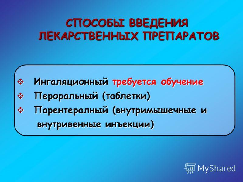 Ингаляционный требуется обучение Ингаляционный требуется обучение Пероральный (таблетки) Пероральный (таблетки) Парентералный (внутримышечные и Парентералный (внутримышечные и внутривенные инъекции) внутривенные инъекции) СПОСОБЫ ВВЕДЕНИЯ ЛЕКАРСТВЕНН