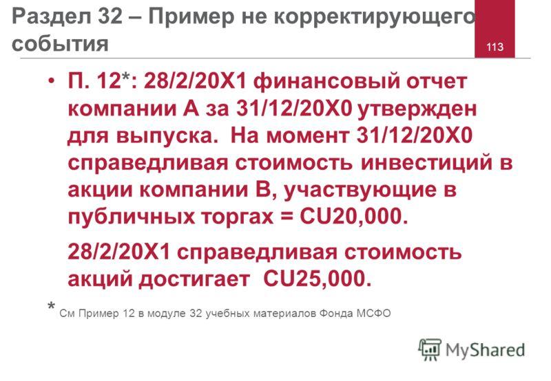 113 Раздел 32 – Пример не корректирующего события П. 12*: 28/2/20X1 финансовый отчет компании A за 31/12/20X0 утвержден для выпуска. На момент 31/12/20X0 справедливая стоимость инвестиций в акции компании B, участвующие в публичных торгах = CU20,000.