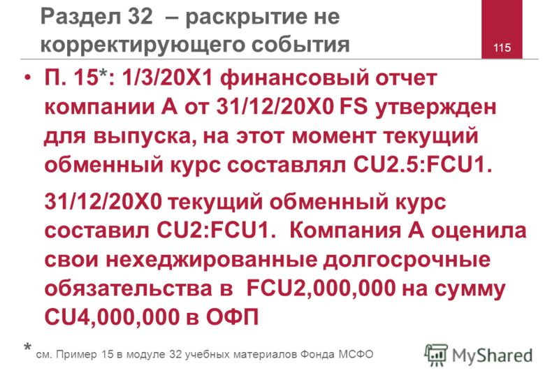 115 Раздел 32 – раскрытие не корректирующего события П. 15*: 1/3/20X1 финансовый отчет компании A от 31/12/20X0 FS утвержден для выпуска, на этот момент текущий обменный курс составлял CU2.5:FCU1. 31/12/20X0 текущий обменный курс составил CU2:FCU1. К