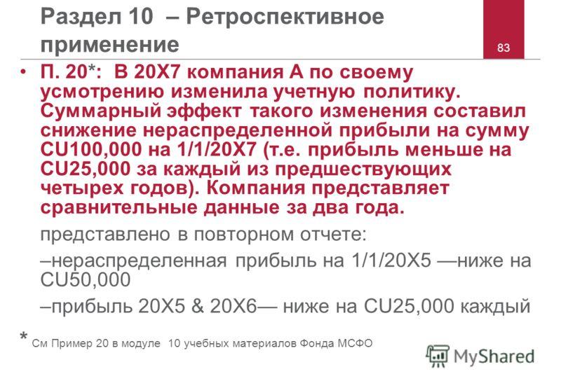 83 Раздел 10 – Ретроспективное применение П. 20*: В 20X7 компания A по своему усмотрению изменила учетную политику. Суммарный эффект такого изменения составил снижение нераспределенной прибыли на сумму CU100,000 на 1/1/20X7 (т.е. прибыль меньше на CU