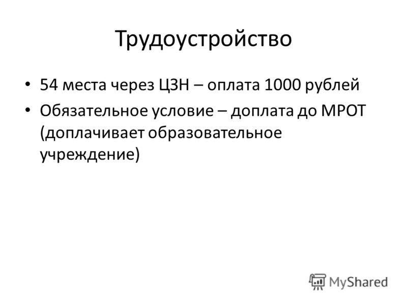 Трудоустройство 54 места через ЦЗН – оплата 1000 рублей Обязательное условие – доплата до МРОТ (доплачивает образовательное учреждение)