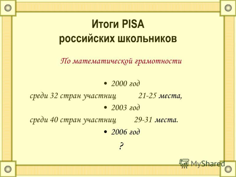 Итоги PISA российских школьников По математической грамотности 2000 год среди 32 стран участниц 21-25 места, 2003 год среди 40 стран участниц 29-31 места. 2006 год ?