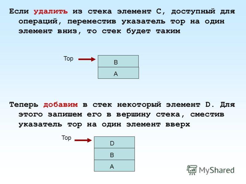Если удалить из стека элемент C, доступный для операций, переместив указатель тор на один элемент вниз, то стек будет таким Теперь добавим в стек некоторый элемент D. Для этого запишем его в вершину стека, сместив указатель тор на один элемент вверх
