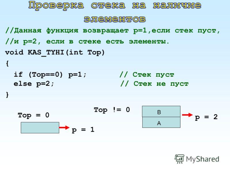 //Данная функция возвращает р=1,если стек пуст, //и р=2, если в стеке есть элементы. void KAS_TYHI(int Top) { if (Top==0) р=1; // Стек пуст else р=2;// Стек не пуст } A B Top != 0 Top = 0 p = 2 p = 1