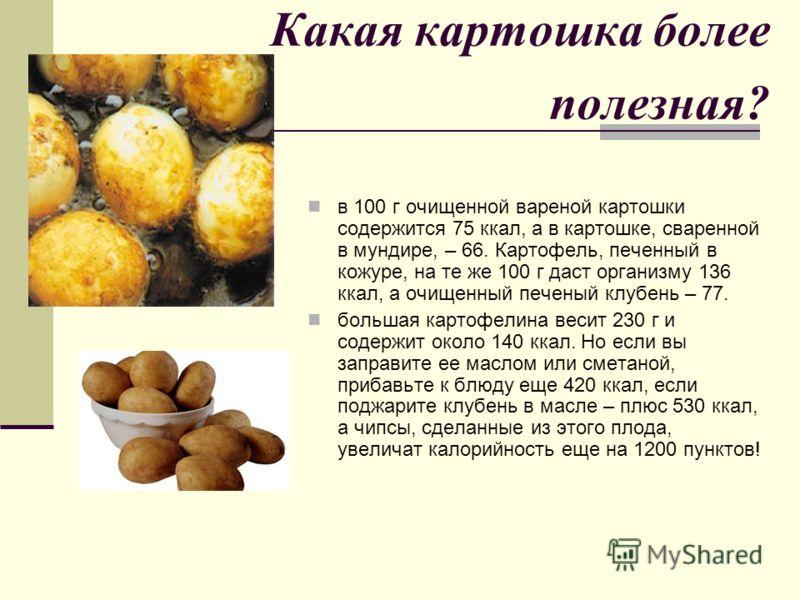 Какая картошка более полезная? в 100 г очищенной вареной картошки содержится 75 ккал, а в картошке, сваренной в мундире, – 66. Картофель, печенный в кожуре, на те же 100 г даст организму 136 ккал, а очищенный печеный клубень – 77. большая картофелина