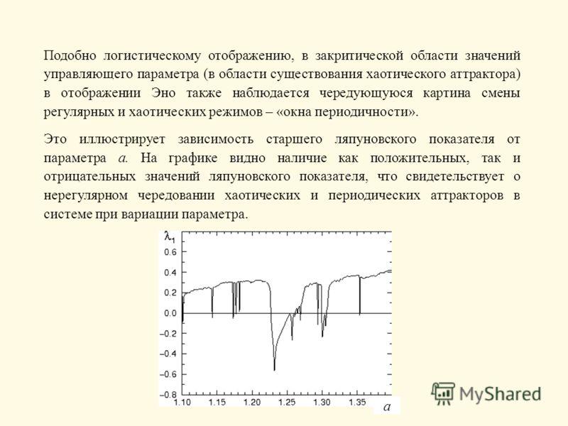 Подобно логистическому отображению, в закритической области значений управляющего параметра (в области существования хаотического аттрактора) в отображении Эно также наблюдается чередующуюся картина смены регулярных и хаотических режимов – «окна пери