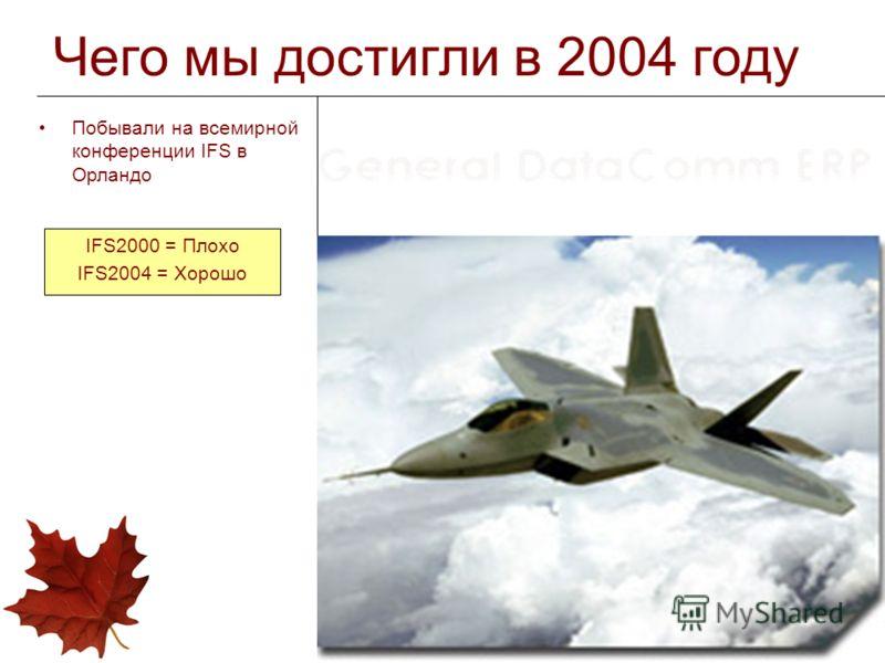 Чего мы достигли в 2004 году Побывали на всемирной конференции IFS в Орландо IFS2000 = Плохо IFS2004 = Хорошо