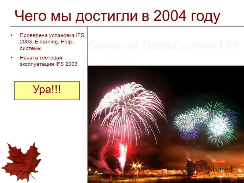 Чего мы достигли в 2004 году Проведена установка IFS 2003, Elearning, Help- системы Начата тестовая эксплуатация IFS 2003 Ура!!!