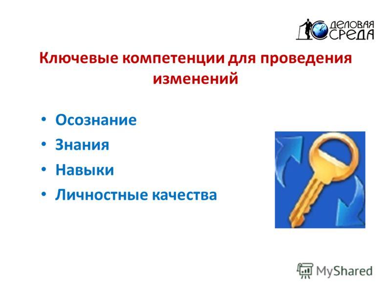 Ключевые компетенции для проведения изменений Осознание Знания Навыки Личностные качества