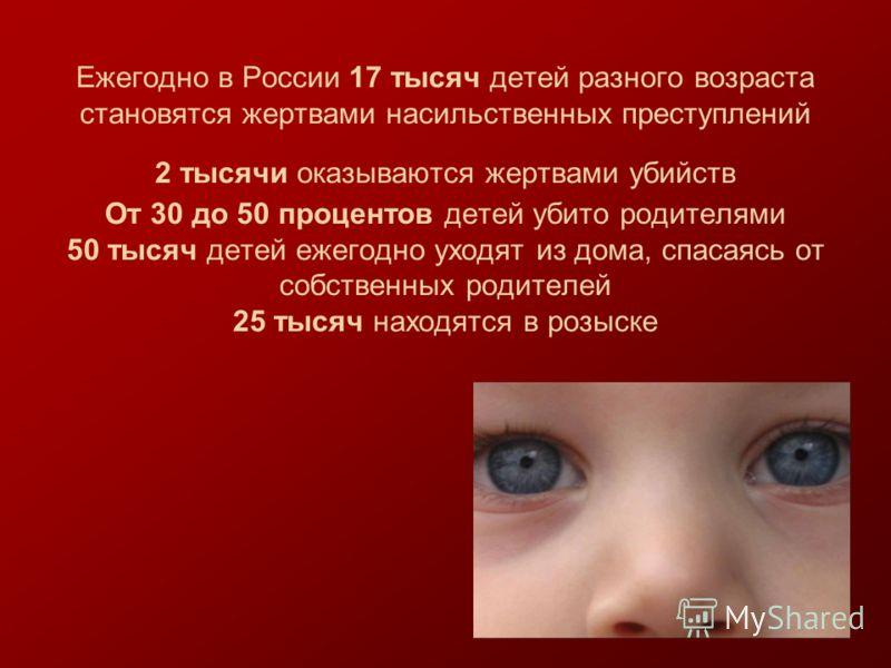 Ежегодно в России 17 тысяч детей разного возраста становятся жертвами насильственных преступлений 2 тысячи оказываются жертвами убийств От 30 до 50 процентов детей убито родителями 50 тысяч детей ежегодно уходят из дома, спасаясь от собственных родит