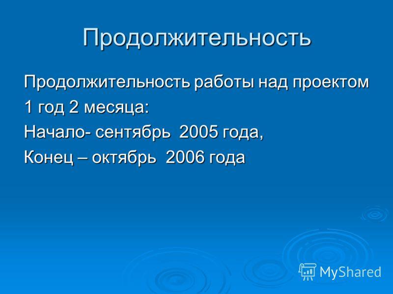 Продолжительность Продолжительность работы над проектом 1 год 2 месяца: Начало- сентябрь 2005 года, Конец – октябрь 2006 года