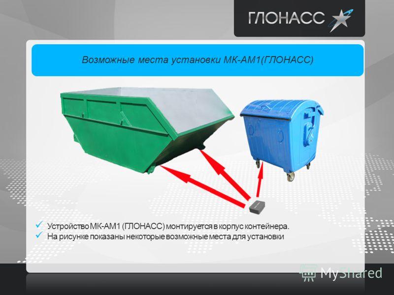 Возможные места установки МК-АМ1(ГЛОНАСС) Устройство МК-АМ1 (ГЛОНАСС) монтируется в корпус контейнера. На рисунке показаны некоторые возможные места для установки