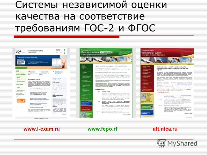 Системы независимой оценки качества на соответствие требованиям ГОС-2 и ФГОС www.fepo.rfatt.nica.ruwww.i-exam.ru