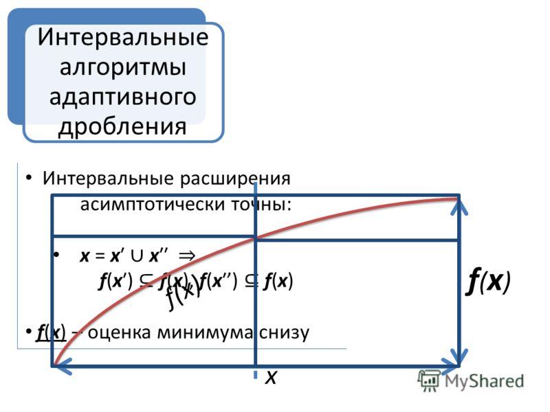 Интервальные расширения асимптотически точны: х = х х f(x) f(x), f(x) f(x) f(x) – оценка минимума снизу f ( x ) f(x)f(x) x Интервальные алгоритмы адаптивного дробления