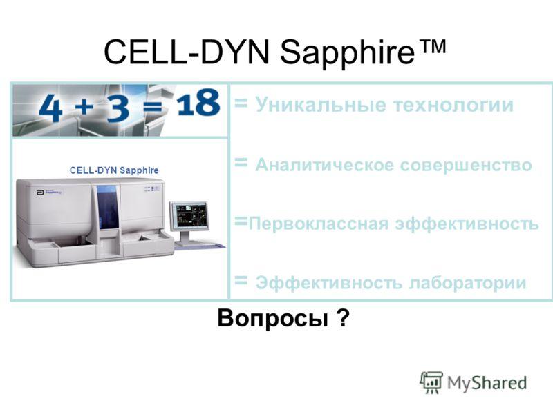 CELL-DYN Sapphire = Уникальные технологии = Аналитическое совершенство = Первоклассная эффективность = Эффективность лаборатории Вопросы ?