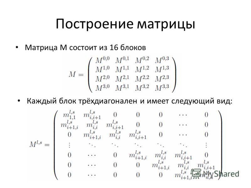 Построение матрицы Матрица M состоит из 16 блоков Каждый блок трёхдиагонален и имеет следующий вид: