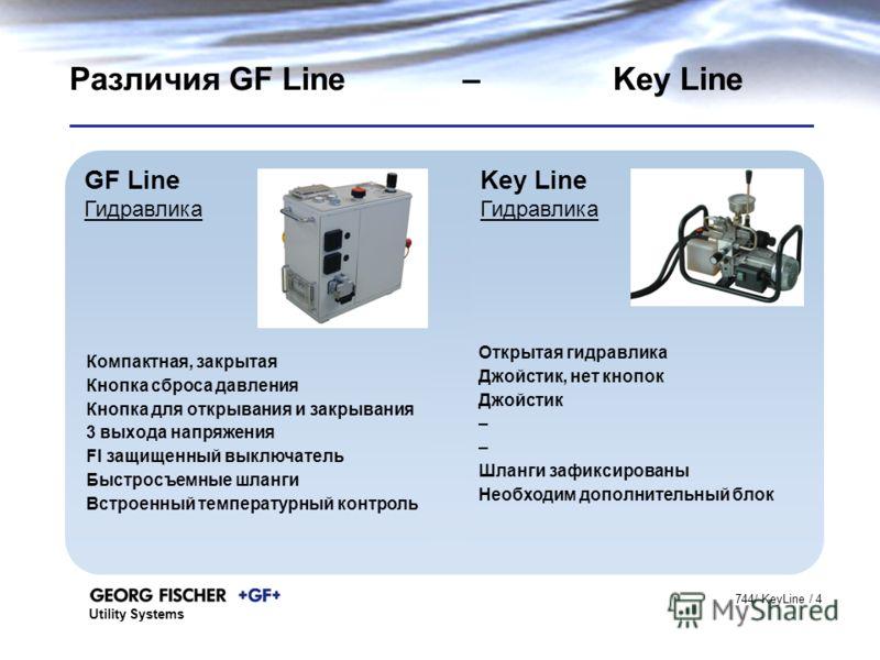 Utility Systems 744/ KeyLine / 4 GF Line Гидравлика Key Line Гидравлика Различия GF Line – Key Line Компактная, закрытая Кнопка сброса давления Кнопка для открывания и закрывания 3 выхода напряжения FI защищенный выключатель Быстросъемные шланги Встр