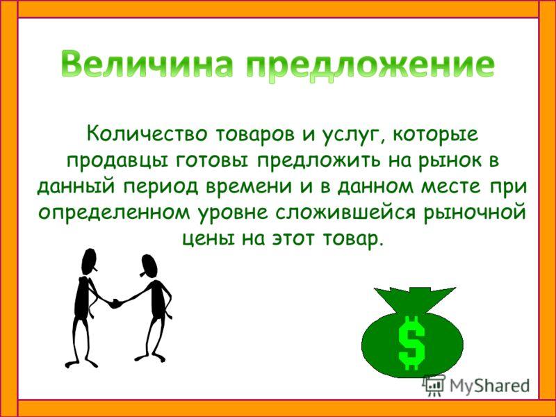 Желание или намерение продавца предложить свой товар или услуги к продаже.