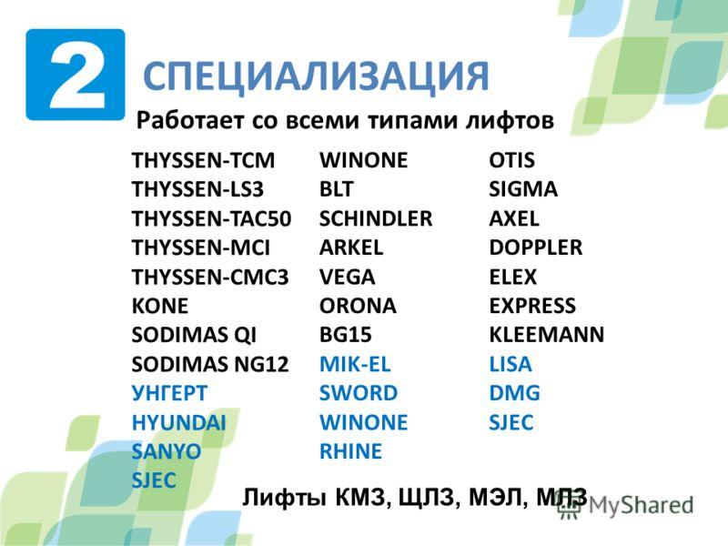 СПЕЦИАЛИЗАЦИЯ Работает со всеми типами лифтов OTIS SIGMA AXEL DOPPLER ELEX EXPRESS KLEEMANN LISA DMG SJEC WINONE BLT SCHINDLER ARKEL VEGA ORONA BG15 MIK-EL SWORD WINONE RHINE THYSSEN-TCM THYSSEN-LS3 THYSSEN-TAC50 THYSSEN-MCI THYSSEN-CMC3 KONE SODIMAS