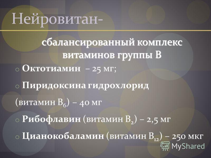 Нейровитан- сбалансированный комплекс витаминов группы В сбалансированный комплекс витаминов группы В o Октотиамин – 25 мг; o Пиридоксина гидрохлорид (витамин В 6 ) – 40 мг o Рибофлавин (витамин В 2 ) – 2,5 мг o Цианокобаламин (витамин В 12 ) – 250 м