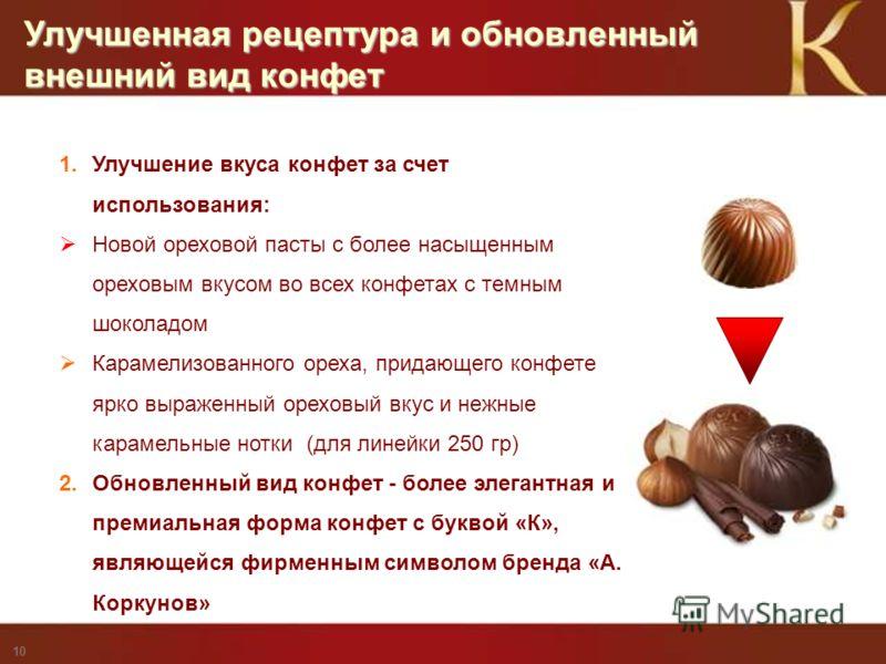 Privileged and Confidential - for Mars Internal Use only 10 Улучшенная рецептура и обновленный внешний вид конфет 1. Улучшение вкуса конфет за счет использования: Новой ореховой пасты с более насыщенным ореховым вкусом во всех конфетах с темным шокол