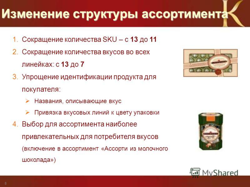 Privileged and Confidential - for Mars Internal Use only Изменение структуры ассортимента 8 1. Сокращение количества SKU – с 13 до 11 2. Сокращение количества вкусов во всех линейках: с 13 до 7 3. Упрощение идентификации продукта для покупателя: Назв