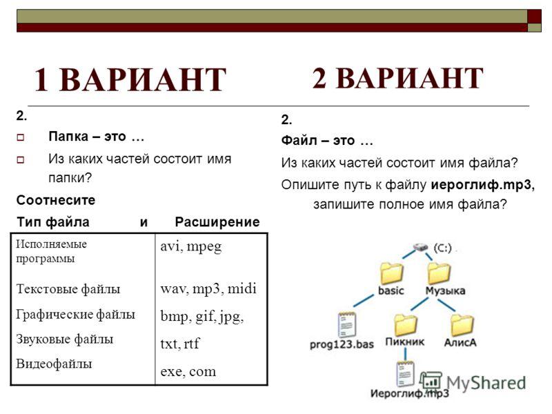 1 ВАРИАНТ 2. Папка – это … Из каких частей состоит имя папки? Соотнесите Тип файла и Расширение 2. Файл – это … Из каких частей состоит имя файла? Опишите путь к файлу иероглиф.mp3, запишите полное имя файла? 2 ВАРИАНТ Исполняемые программы Текстовые