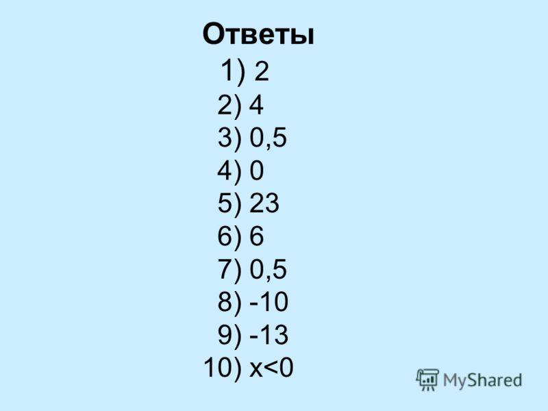 Ответы 1) 2 2) 4 3) 0,5 4) 0 5) 23 6) 6 7) 0,5 8) -10 9) -13 10) x