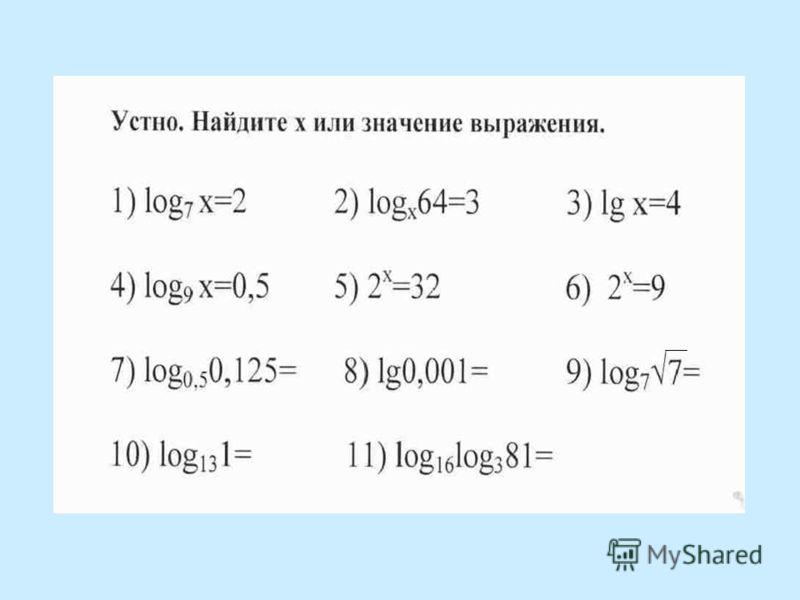 Открытый урок по алгебре в 11 классе